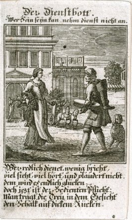 Der Diensthoff, plate 94 from the book Etwas für Alle … Stands- Ambts- Bewerbs-Persohnen…by Father Abraham à Santa Clara (Nuremberg: Christoph Weigel, [1699])