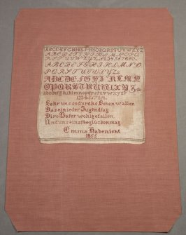 "Sampler: alphabet and German verses, ""Emma Habenicht 1855"""