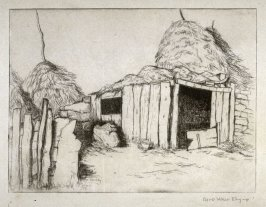 Untitled landscape (haystacks and storage)