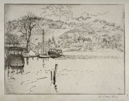 Untitled river scene (boats, hill with houses)