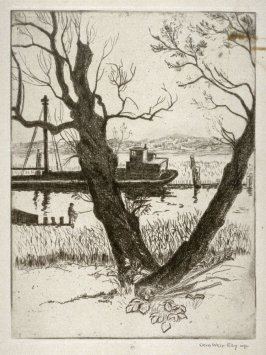 Untitled river scene (barge in canal, boy fishing)