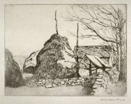 Untitled landscape (haystacks and barn)