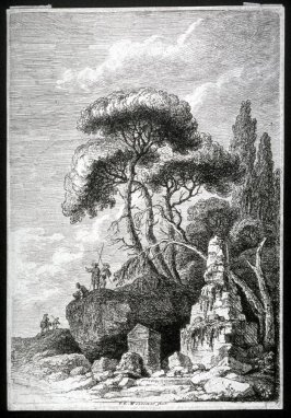 Landscape, monument and ruins with tall trees and rocks, five figures on rocks