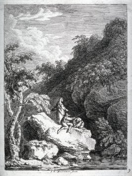 Landscape, man fishing and two other figures in rocky landscape with small stream