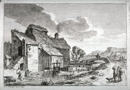 Landscape, cottage on left of sgreem, six people and a dog, horseman on bridge over stream in middle distance, mountains in far distance