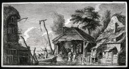Fishing Village--two men in a boat centre, women washing, cottages