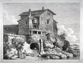 Landscape, stone house on rocky shore high above river in foreground; three figures in lower left on shore