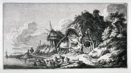 [Landscape, thatched roof cottage on the banks of the bay]