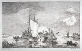 [Untitled: Boats in a bay, windmill in far right]