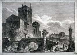[Landscape with ruins of a castle with bridge in foreground]