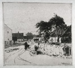 Entrance to the Village of Feldmoching, with woman pushing a wheelbarrow