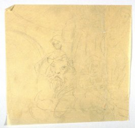 [Figure with lion(?)]] - One from the Studies and Sketches for the Murals in the New Amsterdam Theatre, New York