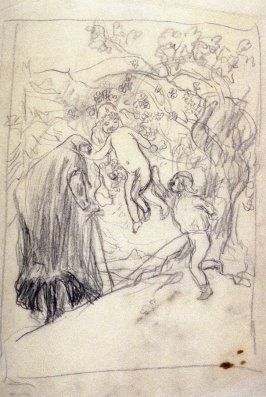 [Kneeling figure and two children] - One from the Studies and Sketches for the Murals in the New Amsterdam Theatre, New York