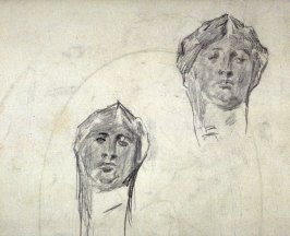 [Two heads ] - One from the Studies and Sketches for the Murals in the New Amsterdam Theatre, New York