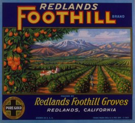 Orange crate label-Redlands Foothill Brand