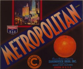 Orange crate label-Metropolitan Brand