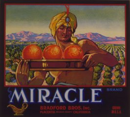 Orange crate label-Miracle Brand