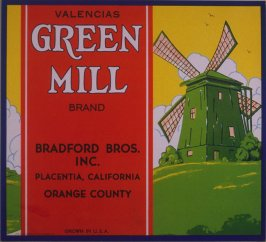 Orange crate label-Green Mill Brand Valencias