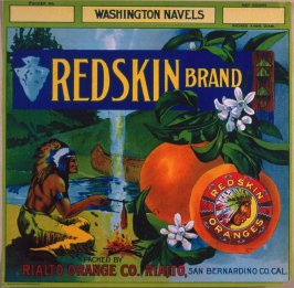 Orange crate label-Redskin Brand (Washington Navels)