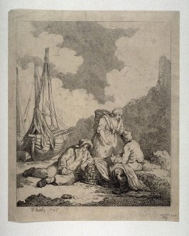 Two Fishermen seated on the seashore with a woman standing