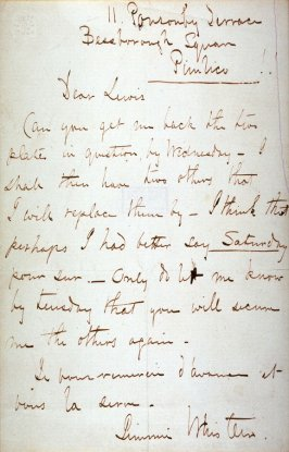 Letter from Whistler to Lewis