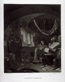 L'alchymiste en Meditation...(the alchemist in his study)...thirty sixth plate in the book... Le Musée royal (Paris: P. Didot, l'ainé, 1818), vol. 2