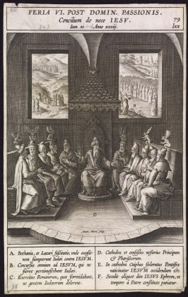 The Sanhedrin Deciding to Kill Christ, plate 79 from P. Jeronimo Nadal, Evangelicae Historiea Imagines (Antwerp, 1593)