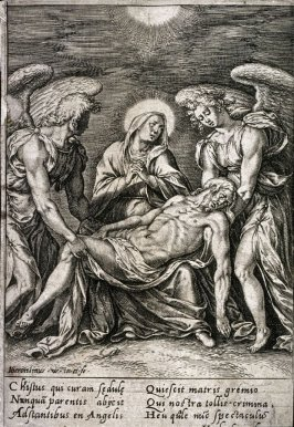 The dead Christ held by two angels
