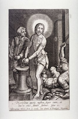 Christ bound to the stake and flogged
