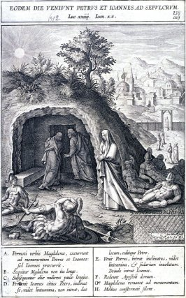 St. Peter and St. John Arriving at the Tomb of Christ, plate 138 from P. Jeronimo Nadal, Evangelicae Historiea Imagines (Antwerp, 1593)