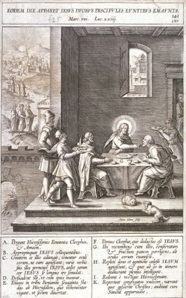 The Supper at Emmaus, plate 141 from P. Jeronimo Nadal, Evangelicae Historiea Imagines (Antwerp, 1593)