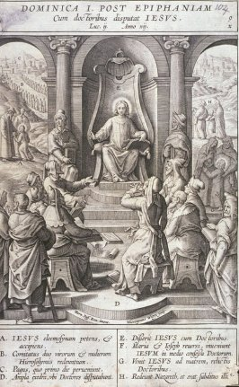 The Twelve Year Old Christ in the Temple, plate 9 from P. Jeronimo Nadal, Evangelicae Historiea Imagines (Antwerp, 1593)
