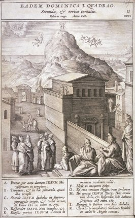 The Second and Third Temptations of Christ, plate 13 from P. Jeronimo Nadal, Evangelicae Historiea Imagines (Antwerp, 1593)