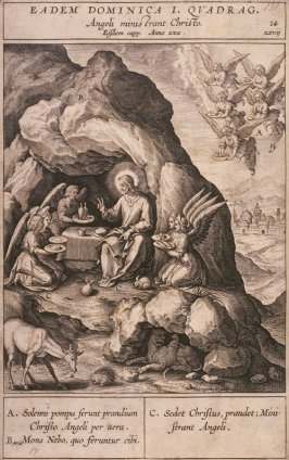 Christ Served by Angels, plate 14 from P. Jeronimo Nadal, Evangelicae Historiea Imagines (Antwerp, 1593)