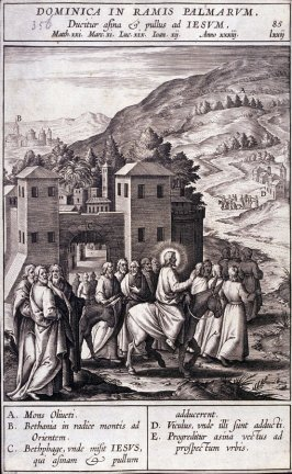 Christ Leaving Bethpage on an Ass, plate 85 from P. Jeronimo Nadal, Evangelicae Historiea Imagines (Antwerp, 1593)