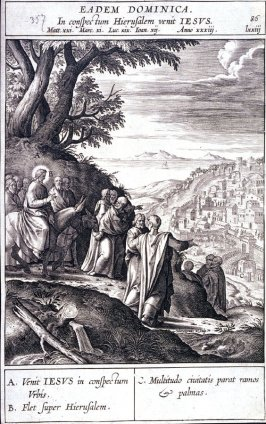 Christ's Entry into Jerusalem, plate 86 from P. Jeronimo Nadal, Evangelicae Historiea Imagines (Antwerp, 1593)