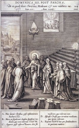 Christ Announcing His Death and Resurrection, plate 104 from P. Jeronimo Nadal, Evangelicae Historiea Imagines (Antwerp, 1593)