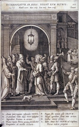 Christ Before the High Priest Annas; Peter Denies Christ, plate 112 from P. Jeronimo Nadal, Evangelicae Historiea Imagines (Antwerp, 1593)