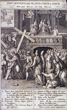 Christ Carrying the Cross, Pilate Washing his Hands, plate 124 from P. Jeronimo Nadal, Evangelicae Historiea Imagines (Antwerp, 1593)