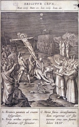 The Raising of the Cross, plate 128 from P. Jeronimo Nadal, Evangelicae Historiea Imagines (Antwerp, 1593)