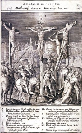 Christ on the Cross, Longinus Stabbing Christ with his Lance, plate 130 from P. Jeronimo Nadal, Evangelicae Historiea Imagines (Antwerp, 1593)