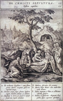 The Entombment, plate 133 from P. Jeronimo Nadal, Evangelicae Historiea Imagines (Antwerp, 1593)