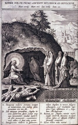 The Holy Women at the Empty Tomb, plate 136 from P. Jeronimo Nadal, Evangelicae Historiea Imagines (Antwerp, 1593)