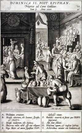 The Wedding at Cana, plate 15 from P. Jeronimo Nadal, Evangelicae Historiea Imagines (Antwerp, 1593)