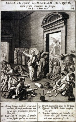 Christ Driving the Money Changers from the Temple, plate 16 from P. Jeronimo Nadal, Evangelicae Historiea Imagines (Antwerp, 1593)