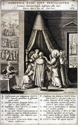 The Raising of Jairus's Daughter, plate 31 from P. Jeronimo Nadal, Evangelicae Historiea Imagines (Antwerp, 1593)