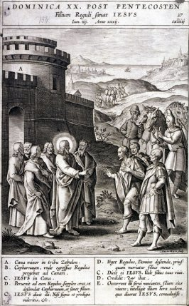 The Imprisonment of a Son of the Royal Officer, plate 37 from P. Jeronimo Nadal, Evangelicae Historiea Imagines (Antwerp, 1593)