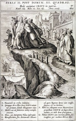 Christ Led to the Top of a Hill Outside Nazareth, plate 40 from P. Jeronimo Nadal, Evangelicae Historiea Imagines (Antwerp, 1593)