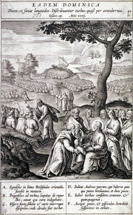 The Multiplication of Loaves and Fishes, plate 42 from P. Jeronimo Nadal, Evangelicae Historiea Imagines (Antwerp, 1593)
