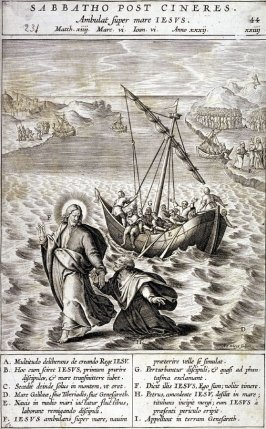 Christ Walking on the Water, plate 44 from P. Jeronimo Nadal, Evangelicae Historiea Imagines (Antwerp, 1593)